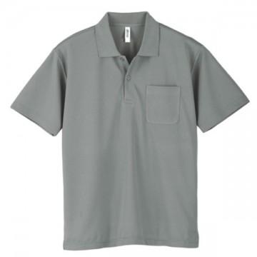 ドライポロシャツ(ポケット付)002.グレー