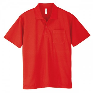ドライポロシャツ(ポケット付)010.レッド