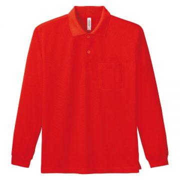 ドライ長袖ポロシャツ010.レッド