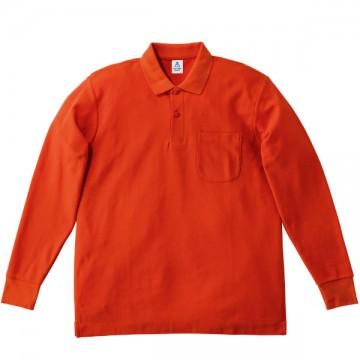 ポケット付鹿の子ドライ長袖ポロ13.オレンジ