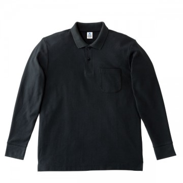 ポケット付鹿の子ドライ長袖ポロ16.ブラック