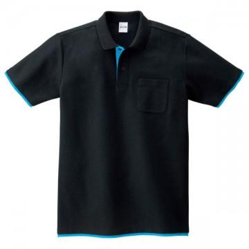 ベーシックレイヤードポロシャツ650.ブラック×ターコイズ