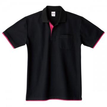 ベーシックレイヤードポロシャツ746.ブラック×ホットピンク