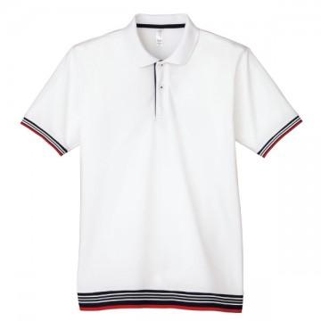 裾ラインリブポロシャツ15.ホワイト