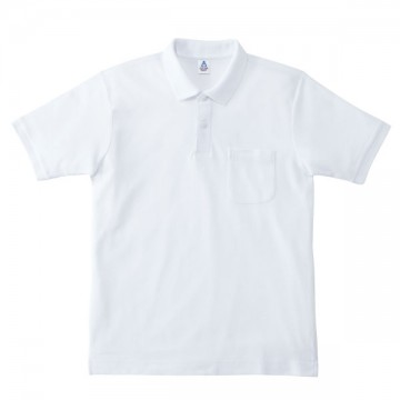 ポケット付鹿の子ドライポロシャツ15.ホワイト