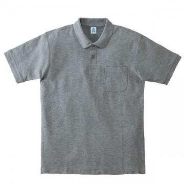 ポケット付鹿の子ドライポロシャツ2.杢グレー