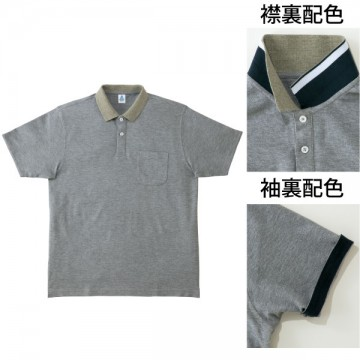 2WAYカラーポロシャツ2.杢グレー