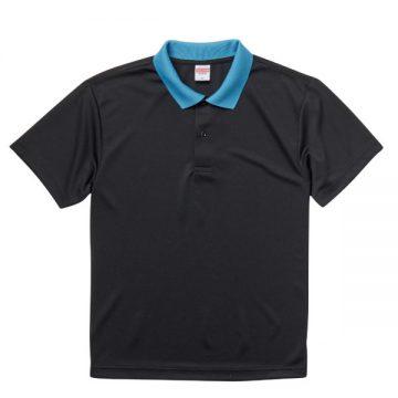 ドライアスレチックポロシャツ2072.ブラック×ターコイズブルー