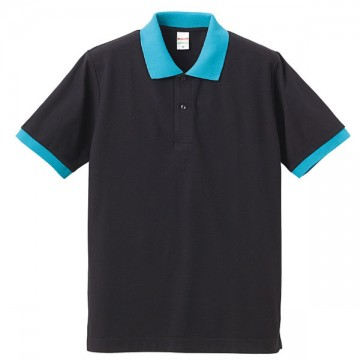 ドライカノコポロシャツ2072.ブラック/ターコイズ