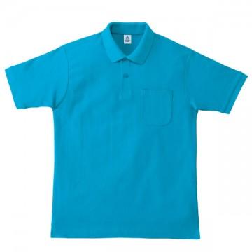 ポケット付鹿の子ドライポロシャツ26.ターコイズ