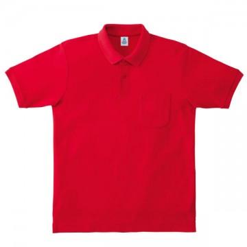 ポケット付鹿の子ドライポロシャツ3.レッド