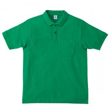 ポケット付鹿の子ドライポロシャツ34.グリーン