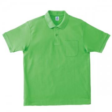 ポケット付鹿の子ドライポロシャツ54.ライムグリーン