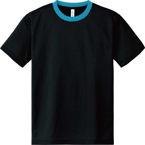 ドライTシャツ300ブラック×ターコイズ
