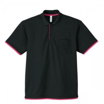 4.4オンスドライレイヤードポロシャツ746.ブラック×ホットピンク