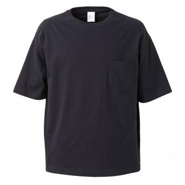 5.6オンスビッグシルエットTシャツ(ポケット付き)002.ブラック