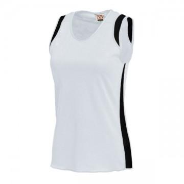 ウィメンズランニングシャツ64.ホワイト×ブラック
