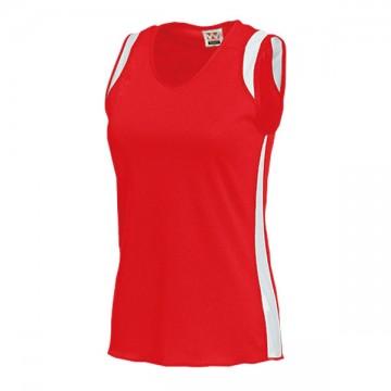 ウィメンズランニングシャツ95.レッド×ホワイト