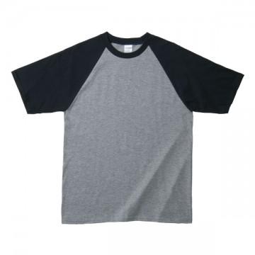 プレミアムコットンラグランTシャツ295B,スポーツグレー/ブラック