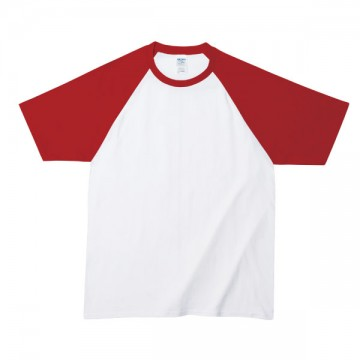プレミアムコットンラグランTシャツ030C,ホワイト/レッド