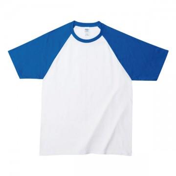 プレミアムコットンラグランTシャツ030E,ホワイト/ロイヤル
