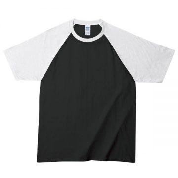 プレミアムコットンラグランTシャツ036S,ブラック/ホワイト