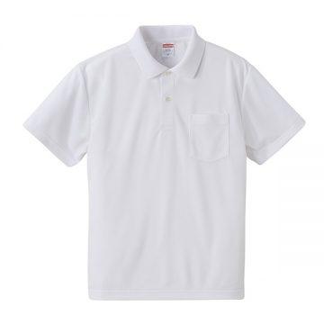 4.1オンスドライアスレチックポロシャツ(ポケット付)001.ホワイト