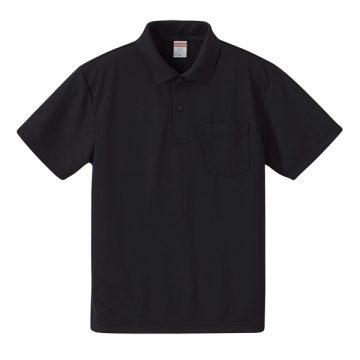 4.1オンスドライアスレチックポロシャツ(ポケット付)002.ブラック