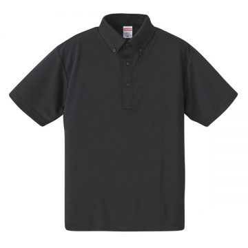 4.1ozドライアスレチックボタンダウンポロシャツ002.ブラック
