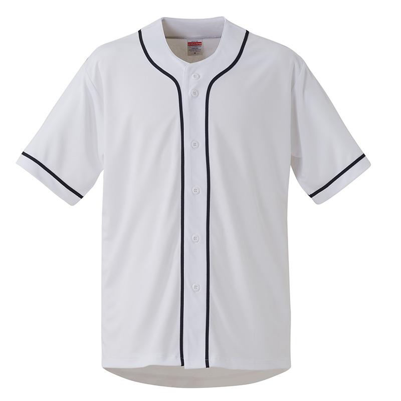4.4オンスドライベースボールシャツ1445ホワイト×ネイビー