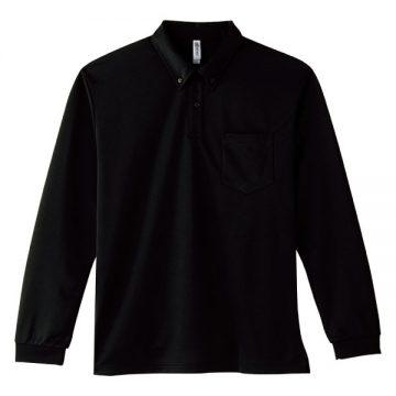 4.4オンスドライボタンダウン長袖ポロシャツ005.ブラック