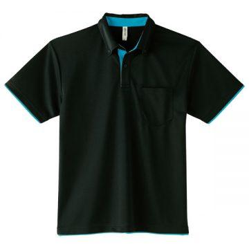 4.4オンスドライレイヤードボタンダウンポロシャツ650.ブラック×ターコイズ