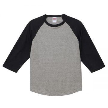 ラグラン3/4スリーブTシャツ3202.ミックスグレー×ブラック