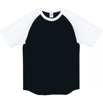 ヘビーウエイトラグランTシャツ066.ブラック×ホワイト