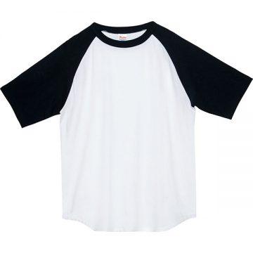 ヘビーウエイトラグランTシャツ705.ホワイト×ブラック