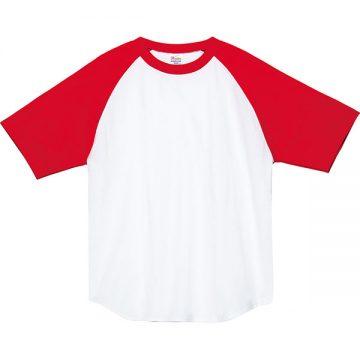 ヘビーウエイトラグランTシャツ710.ホワイト×レッド