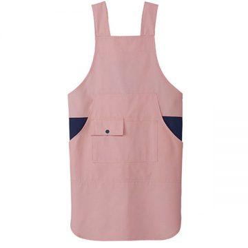胸当てエプロン(H型)9.ピンク×ネイビー