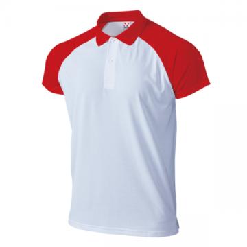 超軽量ドライラグランポロシャツ65.ホワイト×レッド