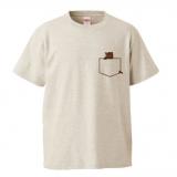 オリジナルポケットデザインTシャツ(猫デザイン1)